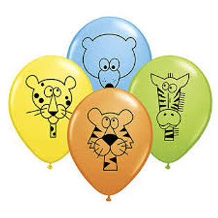 "11"" Jungle Animal Printed Latex Balloons"