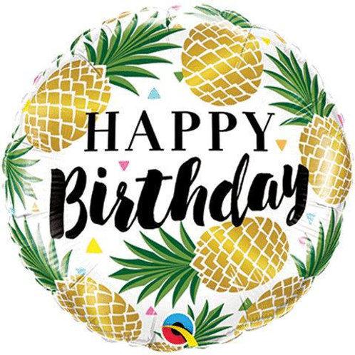 "18"" Golden Pineapples Happy Birthday Foil Balloon"