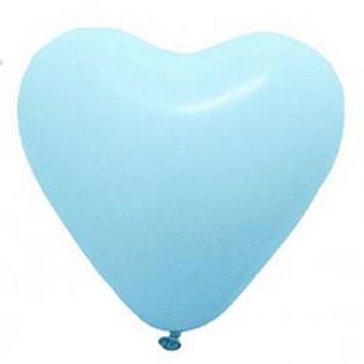 "12"" Light Blue Heart Shaped Latex Balloon"