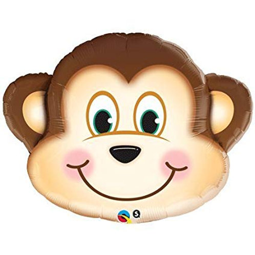 """35"""" Mischievous Monkey Head Foil Balloon"""