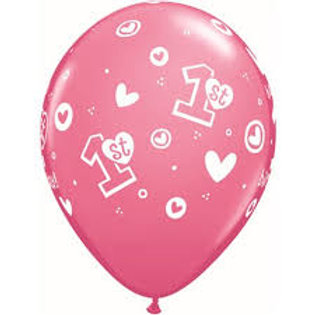 "11"" 1st Birthday Girl Printed Balloon"