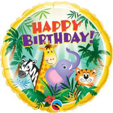 "18"" Birthday Jungle Friends Foil Balloon"