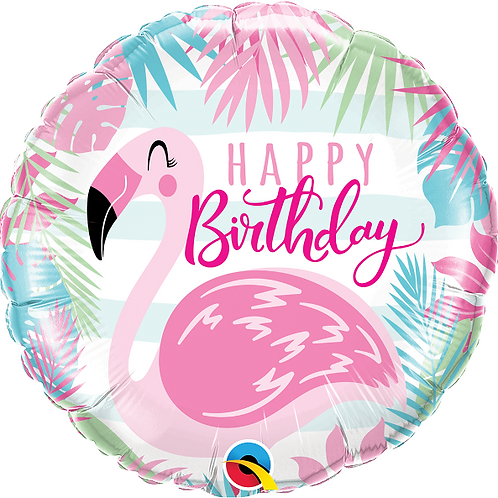 "18"" Pink Flamingo Happy Birthday Foil Balloon"