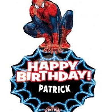 "33"" Spiderman Personalized Happy Birthday Foil Balloon"