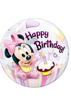 "22"" Minnie Mouse 1st Birthday Bubble Balloon"