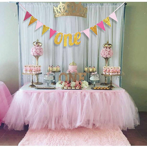 ONE Year 1st Birthday Bunting (2.5meter) - Pink and Gold
