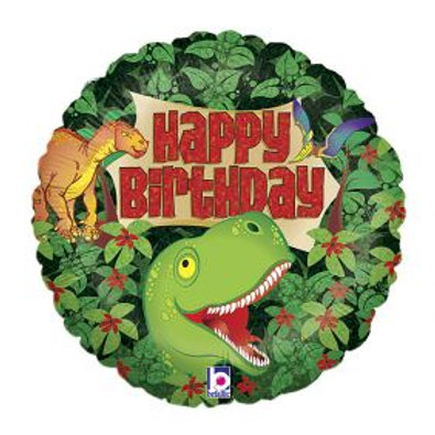 "18"" Dino Happy Birthday Holographic Foil Balloon"