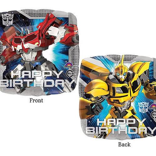 "17"" Square Transformers Happy Birthday Foil Balloon"