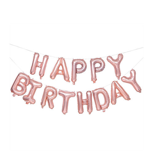 "14"" Airfilled Happy Birthday Rose Gold Letter Foil Balloons"
