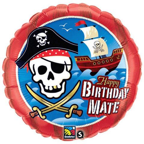 "18"" Pirate Ship Happy Birthday Mate Foil Balloon"