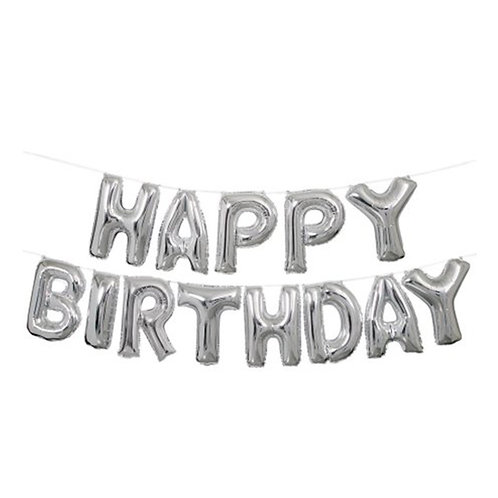 """14"""" Airfilled Happy Birthday Silver Letter Foil Balloons"""