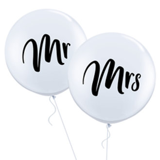 3ft Mr and Mrs Printed Latex Balloon