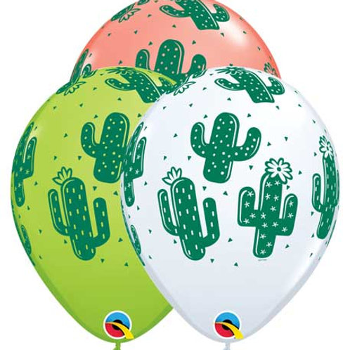 "11"" Cactus Printed Latex Balloon"