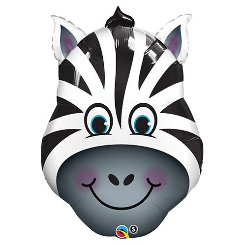 "32"" Zany Zebra Head Foil Balloon"