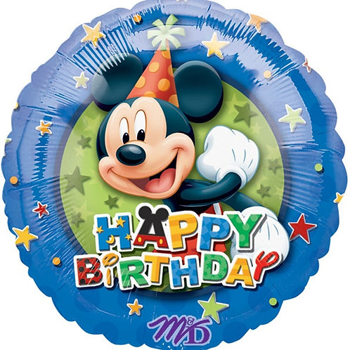 "18"" Mickey Happy Birthday with Stars Foil Balloon"