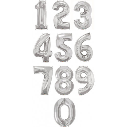 """40"""" Silver Number Foil Balloons ( 0-9 )"""