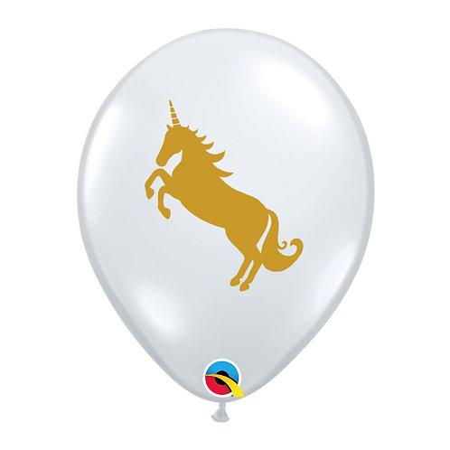 """11"""" Diamond Clear Golden Unicorn Printed Balloon"""