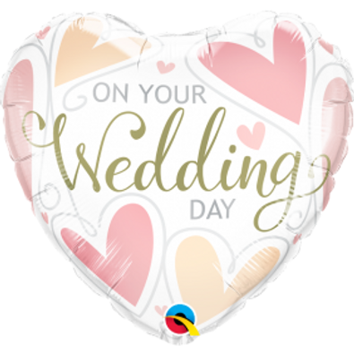 """18"""" On Your Wedding Day Heart Foil Balloon"""
