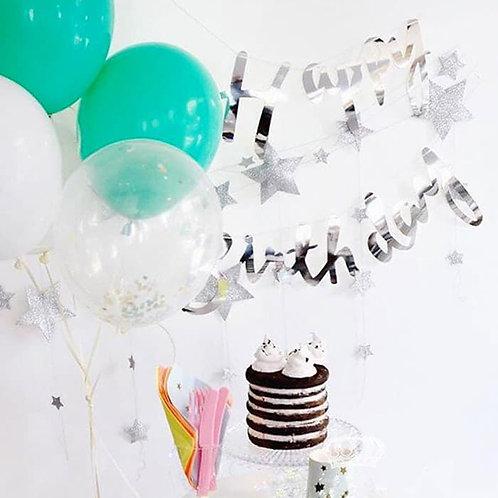 Happy Birthday Script Bunting - Silver