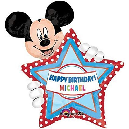 """30"""" Mickey Mouse Personalized Happy Birthday Foil Balloon"""