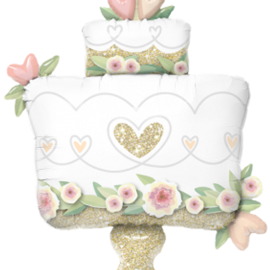 "41"" Glitter Gold Wedding Cake Foil Balloon"