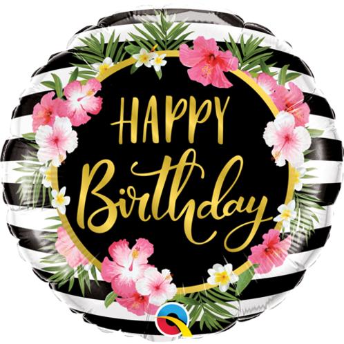 "18"" Happy Birthday Hibiscus Strip Foil Balloon"