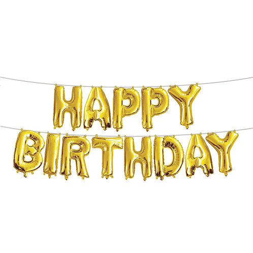 """14"""" Airfilled Happy Birthday Gold Letter Foil Balloons"""