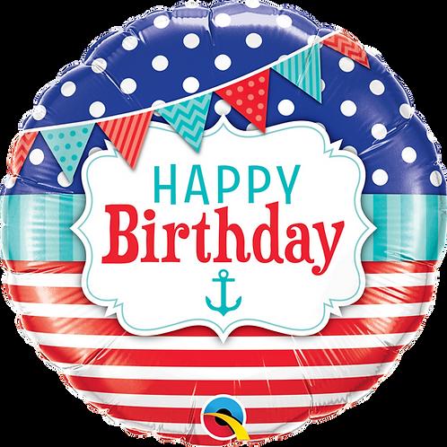 "18"" Nautical  & Pennants Happy Birthday Foil Balloon"