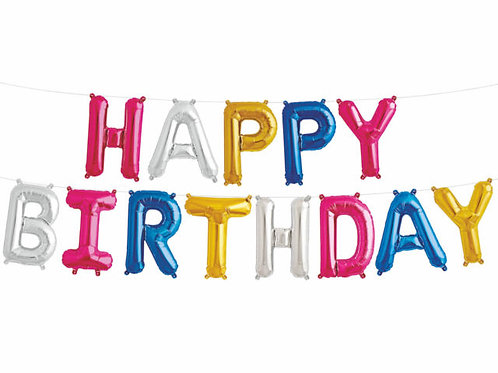 "14"" Airfilled Happy Birthday Colourful Letter Foil Balloons"