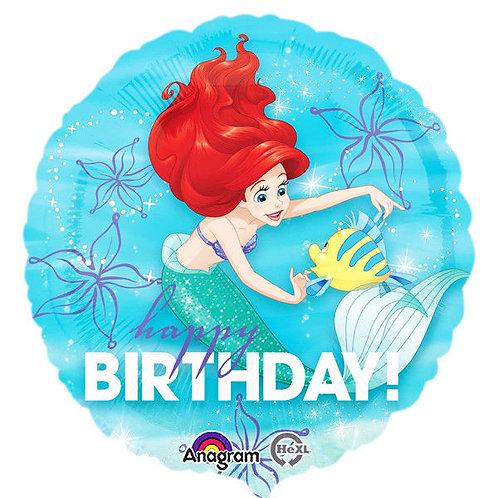 "18"" Ariel The Little Mermaid Happy Birthday Dream Big Foil Balloon"