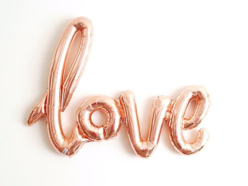 "40"" Airfilled Rose Gold Love Script Foil Balloons"