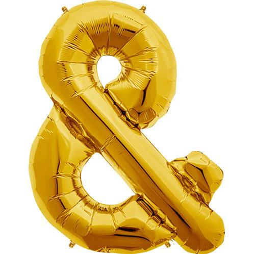 "34"" Gold Ampersand Foil Balloons"