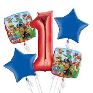 Paw Patrol Number Birthday Balloon Bouquet (Choose your Number)