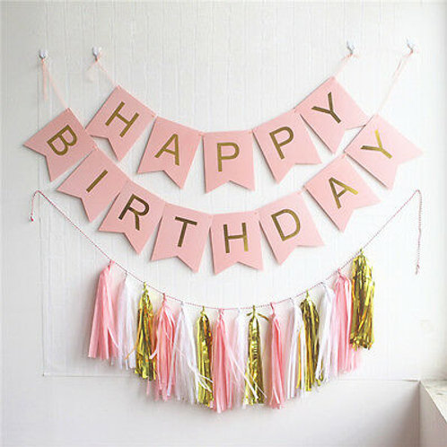 Happy Birthday Bunting - Pastel Pink