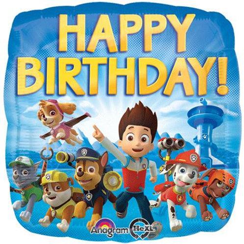 "18"" Square Paw Patrol Happy Birthday Foil Balloon"