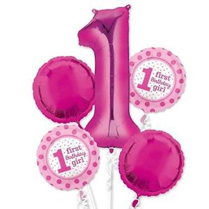 1st Birthday Girl Balloon Bouquet