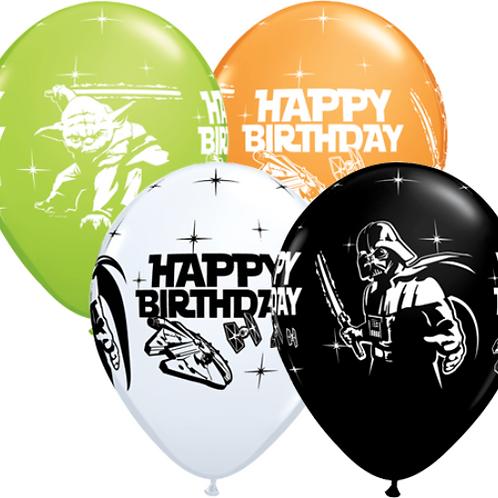 "11"" Star Wars Happy Birthday Printed Latex Balloon"