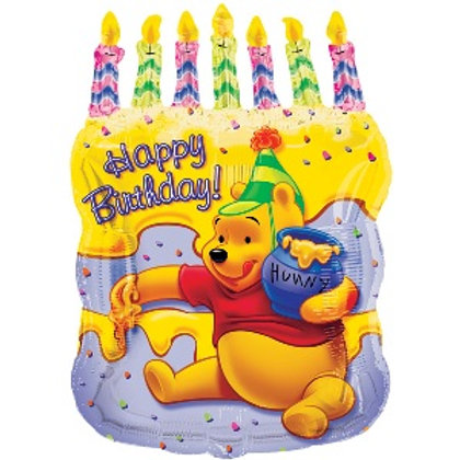 """23"""" Happy Birthday Pooh Cake Candles Foil Balloon"""