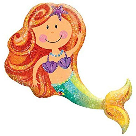 """38"""" Holographic Merry Mermaid Foil Balloon"""