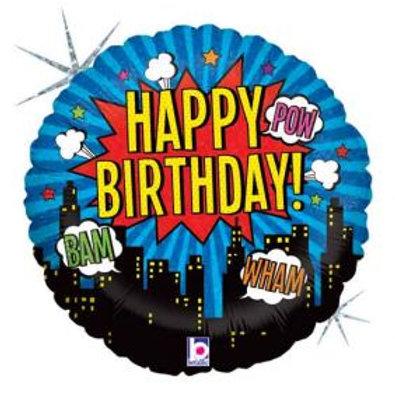 "18"" Superhero Birthday Holographic Foil Balloon"