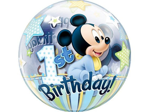 "22"" Mickey Mouse 1st Birthday Bubble Balloon"