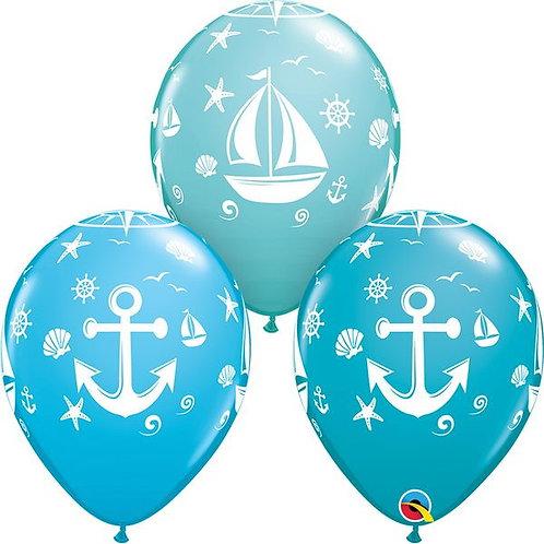 """11"""" Nautical Sailboat & Anchor Printed Balloon"""