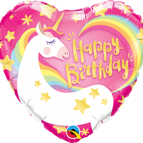 "18"" Heart Magical Unicorn Happy Birthday Foil Balloon"
