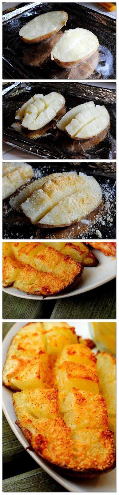 תפוח אדמה אפוי בתנור חתוך עם סכין אופינל סנטוקו 119