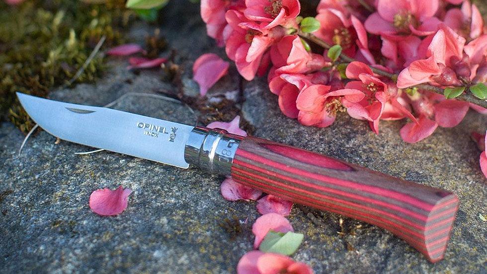 Red Laminated Birch No.08 Folding Knife אופינל מס' 8 ליבנה אדום