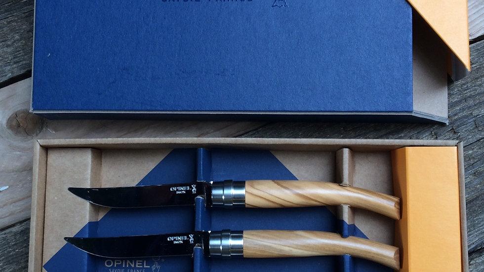 Premium OliveWood Steak Knife Set of 4 Knives אופינל סט שולחן מהודר ידית מעץ זית