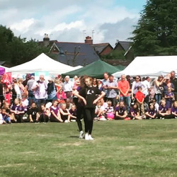 Amelia and Cairo performing their new duet for the first time at Billingshurst Show