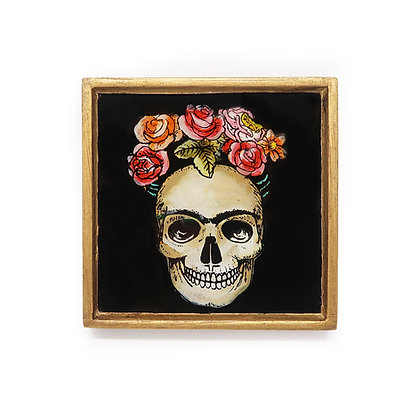 Day of the Dead Frida Hand-Painted Glass Frame