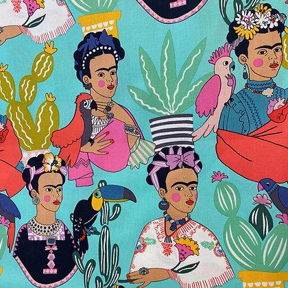 Frida con Plumas Fabric by the Yard