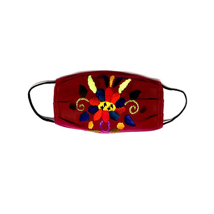 Kids Embroidered Face Mask - Burgundy